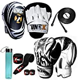 ONEX Set di Pugilato Cuscinetti per Boxe Bambini Workout e Pad combattente sciopero Borsa Boxing Gloves guantoni da punzonatura dei Guanti Lotta MMA Kickboxing Glove 6oz (Nero)