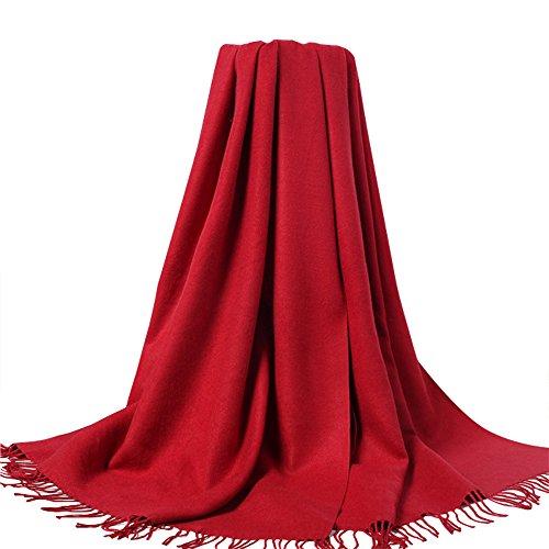 HEYU Echarpe femme pour l'hiver cachemire Rouge bordeaux