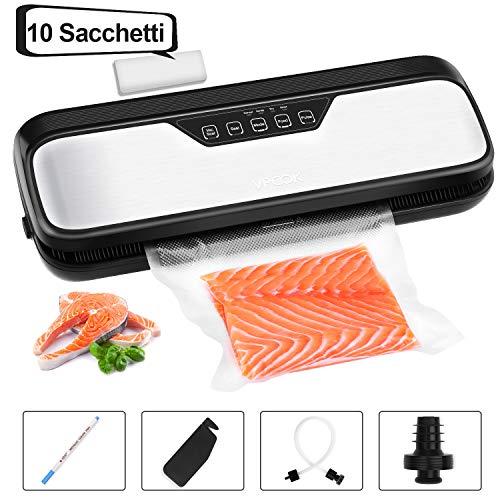 VPCOK Macchina Sottovuoto per Alimenti Macchina per Sottovuoto Professionale Sigillatrice Sottovuoto Macchina Portatile Vacuum Sealer Acciaio Inox