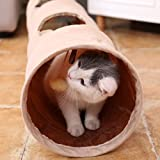 Pawz Road sämisch Katzentunnel Katzenspielzeug Rascheltunnel Spieltunnel 120cm mit 2 Höhlen - 6