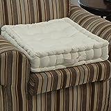 Homescapes cuscino per poltrona, imbottitura di poliestere e rivestimento in 100% cotone e velluto, 50x 50x 10cm crema