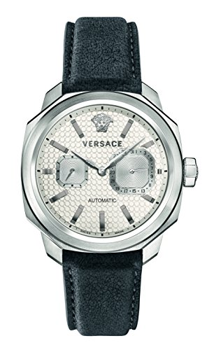Versace Men's 'Dylos' Automatic Stainless Steel and Leather Casual Watch, Color Grey (Model: V14010016)