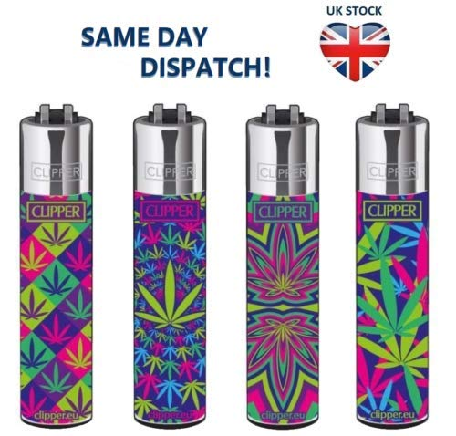 4 x Genuine Green Herb Leaf Clipper Lighter, Gas Lighter,Smokers Gift