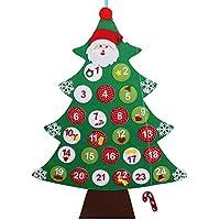 OurWarm Feutre Arbre de Noël Calendrier de l'Avent Compte à rebours jusqu'à Noël Calendrier cadeaux de Noël pour enfants à suspendre au mur Decor 60cm x 85cm