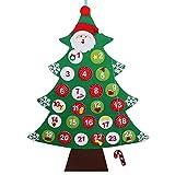 OurWarm fieltro árbol de Navidad Calendario de Adviento calendario de Navidad cuenta atrás para regalos de Navidad para niños para colgar en la pared decoración 24 x 34 inch