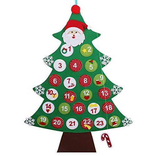 Ourwarm feltro albero di natale calendario dell' avvento conto alla rovescia per natale calendario regali di natale per bambini da appendere alla parete decorazione 60cm x 85cm