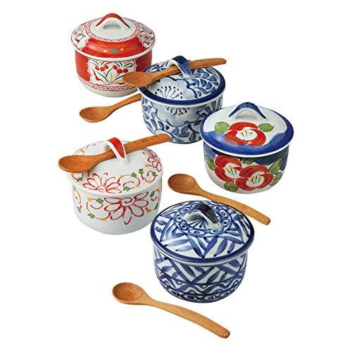 Saikai Pottery Hasami-yaki Chawan Mushi Bowls 250 ml 5 diferentes patrones tradicionales japoneses 5 cuencos con cuchara de madera Set rojo azul blanco verde Japón importación 56970