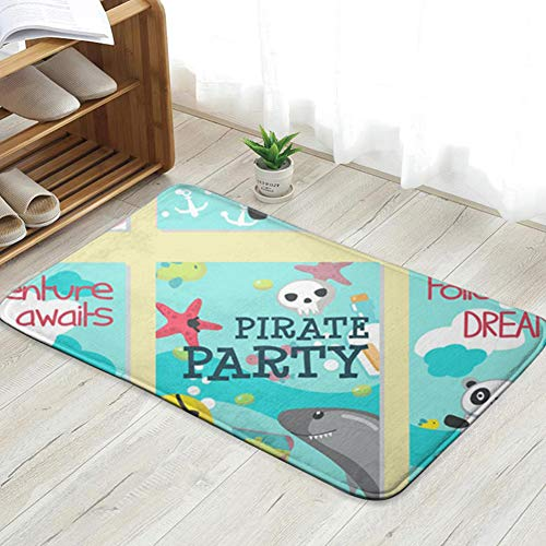 Pillow Socks Pirate Party Invitation Card Template Set Animals Wildlife Animal Doormat Entrance Mat Floor Mat Rug Indoor/Front Door/Bathroom/Kitchen and Living Room/Bedroom Mats 31.5 X 19.5 - Niedliche Qualle Kostüm