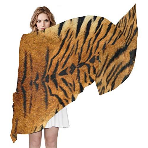 QMIN Schal aus Seide mit Tiermotiv und Tigermuster, modisch, lang, leicht, Schal für Damen und Mädchen (Cover Print Baumwoll Up)