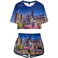 de Las Mujeres Camiseta Pantalones Cortos Traje Notre Dama Delaware París Impresión 3D Camiseta Casual Deporte Outfits Traje Opcional Multicolor/Azul profundo/XXL