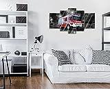 FORWALL Glasbild Glasfoto Echtglas Wandbild Rasendes Feuerwehrwagen Real Glass Print Picture GS4A (170cm. x 100 (1x30x100, 2x30x80, 2x40x60)) AMFGTS20244GS4A Feuerwehr Feuerwehrauto Wagen Rot Brand
