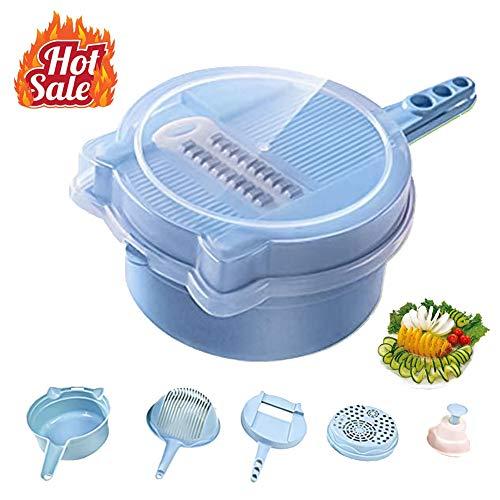 9 in 1 Multifunktions-Gemüseschneider Spiralschneider Easy Food Chopper Slicer Dicer Professionelle Manuelle Mandoline Käse Zwiebelschneider blau - Easy Slicer