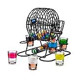 Relaxdays Bingo Cage Drinking Game, Lotteria Ruota con manovella e Supporto, 6Bicchierini, 48Palle, Fun Party Game