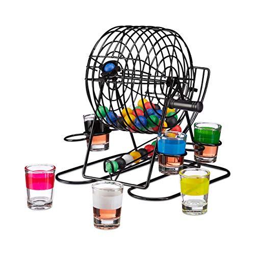 Relaxdays Trinkspiel Bingo, Lostrommel mit Kurbel & Halterung, 6 Shotgläser, 48 Kugeln, lustiges Partyspiel, JGA, bunt (Schnaps Trink-set)