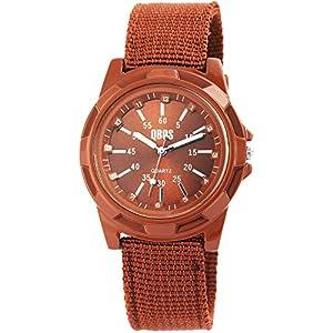 QBOS Herrenuhr Braun Analog Metall Textil Quarz Armbanduhr