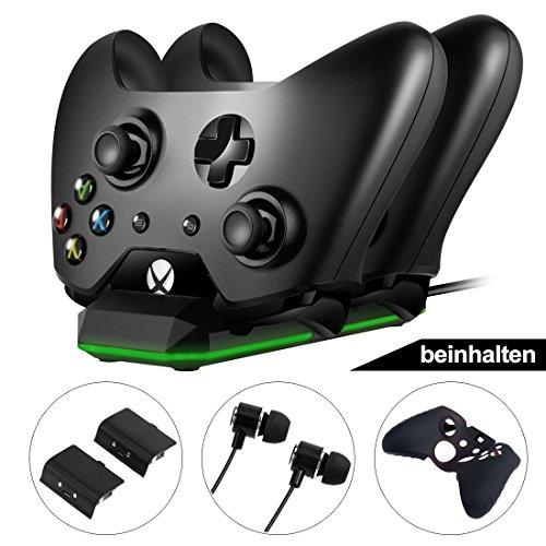 Xbox One Controller Ladestation Spiel Kit mit Dual-Ladestation mit LED-Anzeige + 2x Akku-Packs + Kopfhörer + Controller Case & Thumb Griffe für Xbox One / One X / One S Xbox One Spiel Controller-ladegeräte