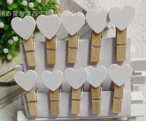 WOFEE - 50 mini mollette, in legno, con cuoricino bianco, per foto, scrapbooking, fai da te, decorazione da casa, matrimonio, festa, bomboniera