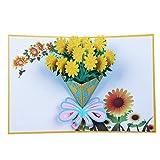 JAGENIE Vatertagskarte, Muttertagskarte, 3D Pop-up-Karte, 3D-Grußkarte, Dank-Karte, Geburtstagskarte, Geburtstagskarte, Valentinstag Geschenkkarte,Sonnenblume 20x15CM