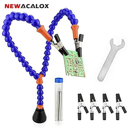Magnetische helfende Hände mit 4 Klemmen und Zinndraht, NEWACALOX Third Hand Mag Hand Lötwerkzeughalter 2 Factory Radio