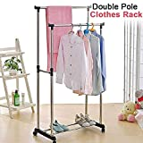 TOUA Stainless Steel Double-Pole Clothes Hanger/Rack Clothes Hanging Garment Rack Rolling Bar Rail Rack Clothes Rack