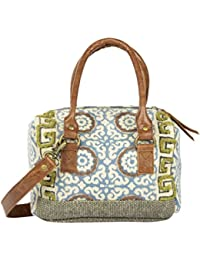 Madelyn Maddy Women's Hand Embroidered Handbag (Blue And White)