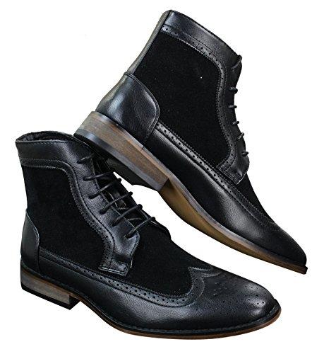 Bottines homme style Chelsea Brogue hauteur cheville cuir et simili look chic décontracté avec lacets Noir