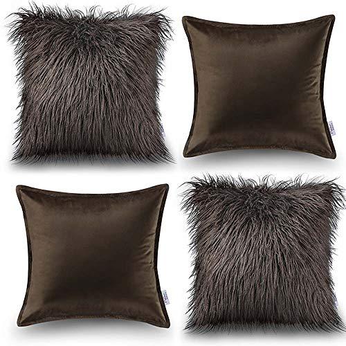 Oreiller Quatre pièces en coton de couleur unie Housse de coussin de canapé Salon Peluche Velvet Core Oreiller (Couleur : Brown, taille : 45 * 45cm)