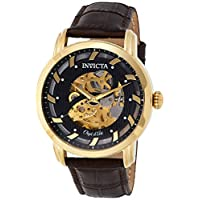 Invicta Men's 'Objet D Art' Automatic Gold-Tone and Leather Casual Watch, (22634), Brown Band, Analog Display