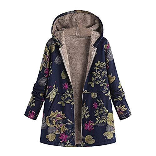 Bane Günstige Kostüm - iHENGH Damen Winter Warm Dicker Jacke Outwear Blumendruck Parka Mantel mit Kapuze Taschen Vintage Oversize Coats(Marine,EU-42/CN-S)