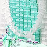 Little Snow Direct 3.6m Four-Leaf Clover Hanging Tissue Paper Flower Garland Wedding Backdrop Party Décor - Teal