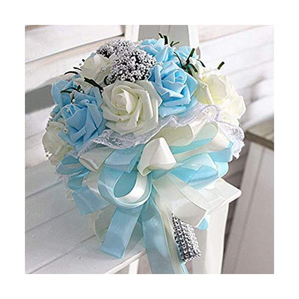 MKYYLV Ramo de Flores para Novia, Brillante, para Boda, Flores Artificiales Vintage Heirloom, con Brillantes