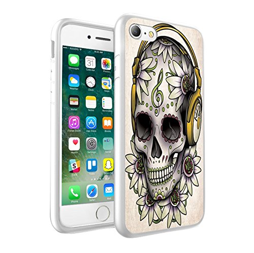 iPhone 5c Sweet Skull with Flowers & Music Note design Case, Premium Lightweight Cover Skin, Unique Custom Cool Design Protective Hard back Slim Thin Fit PC Bumper Case Scratch-Resistant Cover for iPhone 5c - Sweet Skull with Flowers & Music Note Cool Art 0007 (Case Bling 5c-skull Iphone)
