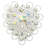 Elixir77UK Silver Colour Heart Flower Wedding Bridal Gift Brooch With Plain and AB Crystals UK SELLER