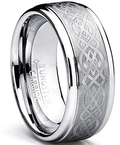8MM Bague De Mariage Tungstene Avec Dessin Celtique Taille 54