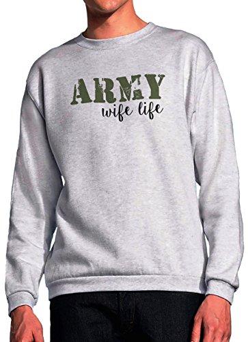 BlackMeow Army Wife Life Grey Unisex Sweatshirt - Small Army Wife Sweatshirt