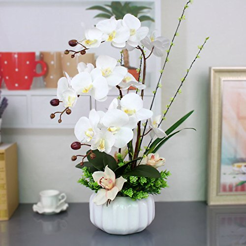 Flores artificiales orquídeas jarrones de cerámica Blanca Accesorios Nupcial flores decorativas Artesanía Home decoración de jardines by XHOPOS HOME
