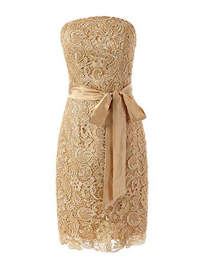Dresstells, Robe de soirée Robe de cérémonie longueur genou en dentelle Blanc