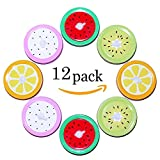 Metal Decorative Regular Mouth Mason Jar Lids with Straw Hole, Fruit Straw Hole Tumbler Lids by ICEBLUEOR ( 4 Colors-12Pcs )
