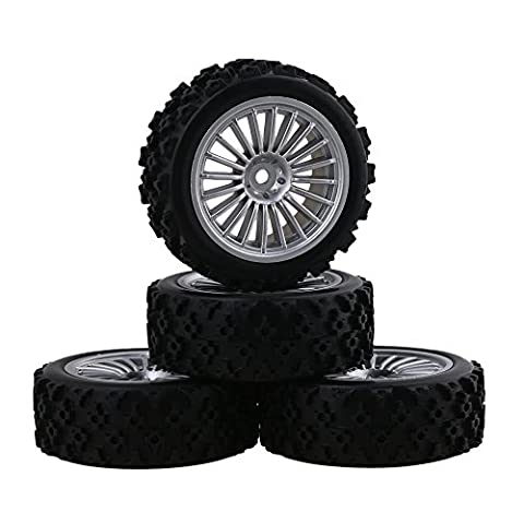 Mxfans Plastic 20 Spoke Silver Plated Wheel Rim+65mm Black Flower Pattern Rubber Tyre for RC 1:10 On Road Car Set of 4