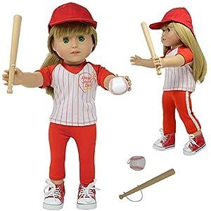 The New York Doll Collection- Juego 45 cm-Uniforme de béisbol American Girl-Accesorios para muñecas incluidos (D370-1)