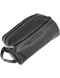 Cuero negro Lavado bolsa de Pierre Cardin