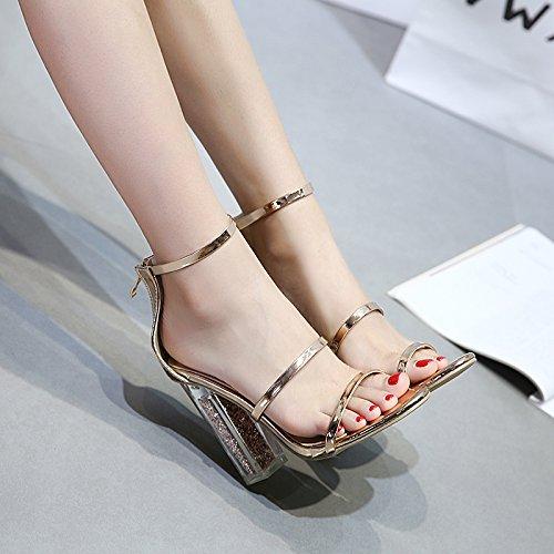 Suhang sandali il quarto Girl sandali con tacco alto Crystal dew-slotted Tie sandali di spessore con femmina The Gold