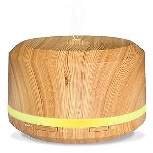 Neloodony 450ml grosse Leistungsfähigkeit diffusor aromatherapie Holzmaserung aroma diffuser mit 4 verschiedenen Timer-Einstellungen und 8 verschiedenfarbigen LED Leuchten