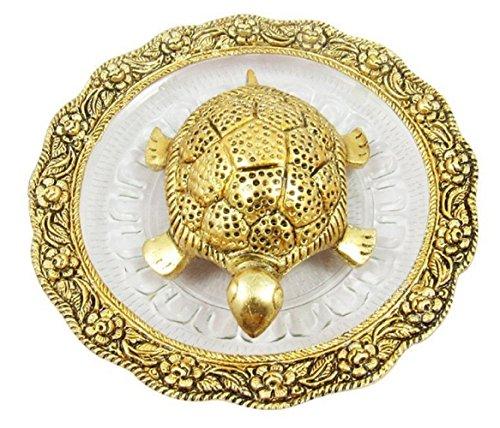 DELHI GIFT HOUSE Brass Handmade Vastu Fengshui Tortoise Turtle, Energy Viber and Lucky Charm for Home (Golden)