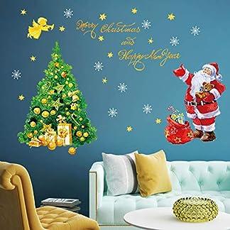 decalmile Pegatinas de Navidad Árbol de Navidad y Papá Noel Pegatinas de Pared Calcomanías de Ventanas Escaparate Tienda Navidad Decoración
