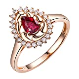 Natürliche Rubin Ringe 14kt Rose Gold Diamanten Engagement Bands für Frauen Liebhaber Feiner Schmuck