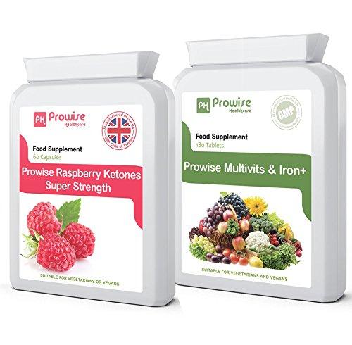 Ketones-de-frambuesa-Prdida-de-Peso-Extra-Strength-600mg-60-Cpsulas-Multi-Vitaminas-y-Hierro-180-Tabletas-6-meses-de-dosis-Diario-Un-Un-Suplemento-Multi-Vitamnico-Da-Reino-Unido-fabricado-a-GMP-Garant