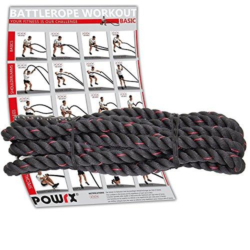 Cuerda Battle Rope de POWRX con Entrenamiento