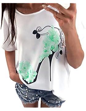 beautyjourney Maglietta Manica Corta Donna Cotton Bianca Donna Manica Corta Stampati Spiaggia Casual Camicia Sciolto...