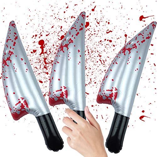 German Trendseller® - 1x blutiges Messer ┃ Horror ┃ Karneval Kostüm Fasching Acessoire┃ Halloween Aufblasbares Messer mit Blut ┃1x Stück